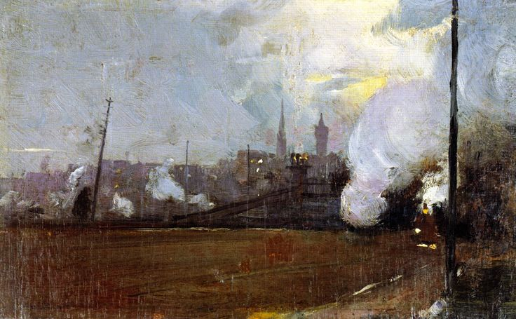 "artishardgr: "" Tom Roberts - Evening Train to Hawthorn 1889 """
