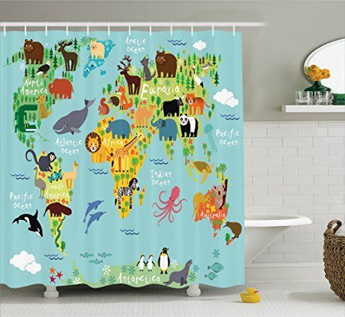 Ambesonne Wanderlust Decor Collection, Animal Map of the World for Children and Kids Cartoon Mountains Forests Image, Polyester Fabric Bathroom Shower Curtain Set with Hooks, Green Yellow Blue, http://www.amazon.com/dp/B01JLNPBRI/ref=cm_sw_r_pi_awdm_xs_rd0jybHJVQD9F