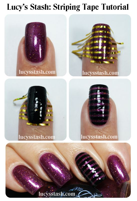 Lucy's Stash: WingDust Plum Outta Ideas - Review, swatches and simple stripy nail art with tutorial