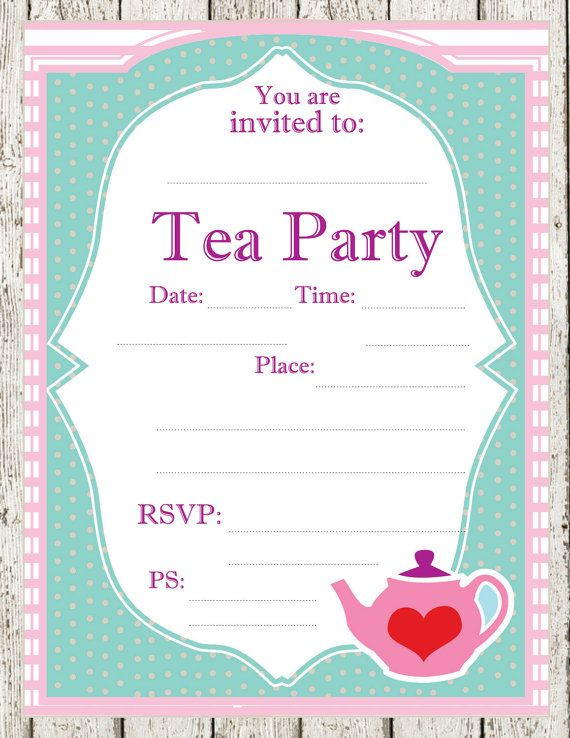 tea party printable invitations