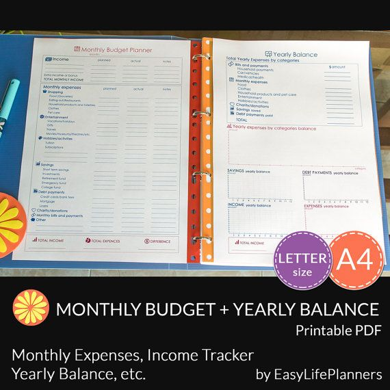 MONTHLY BUDGET  Yearly Balance Kit. A4 and by EasyLifePlanners