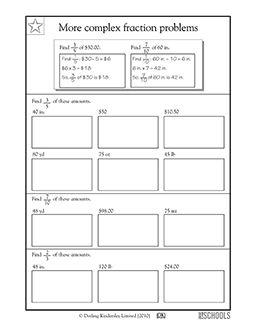 5th grade math worksheets more complex fraction problems tutoring math worksheets. Black Bedroom Furniture Sets. Home Design Ideas