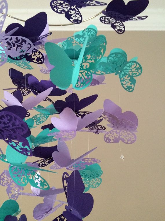 Butterfly Mobile, Flourish In Purple And Teal, Baby Nursery, Kids Room,girl  Room Mobile, Nursery Mobile, Baby Girl Mobile, Baby Mobile