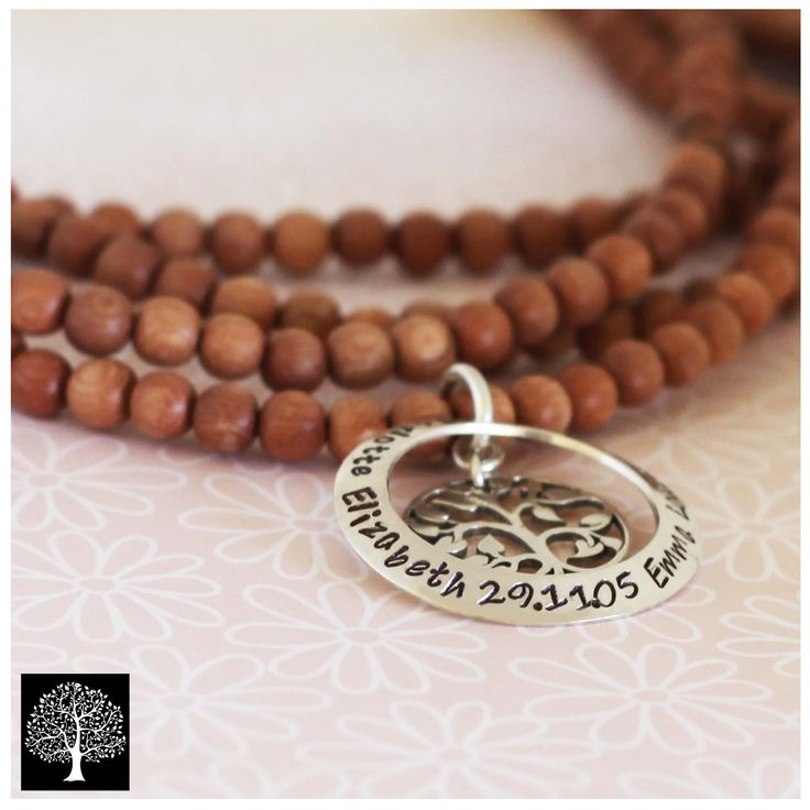Rosewood necklace with 1 washer tree of life pendant