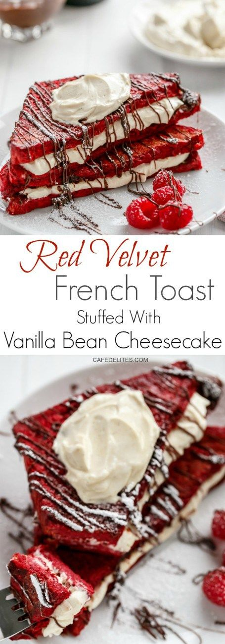 Red Velvet French Toast Stuffed with a sweet and creamy Vanilla Bean Cheesecake filling! The perfect Mother's Day Breakfast!