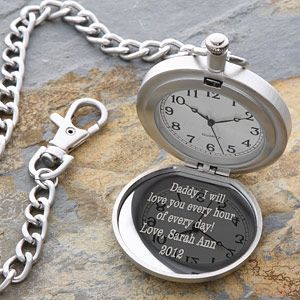 Personalized Silver Pocket Watch With Engraved Monogram - great idea for Father of the Bride
