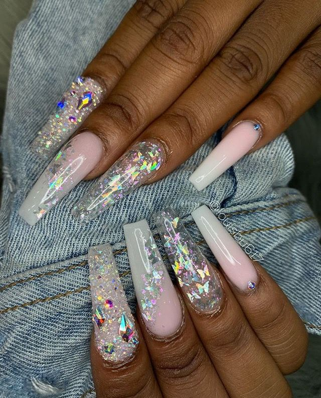 Nails In 2020 Glitter Nails Acrylic White Coffin Nails Neutral Nails
