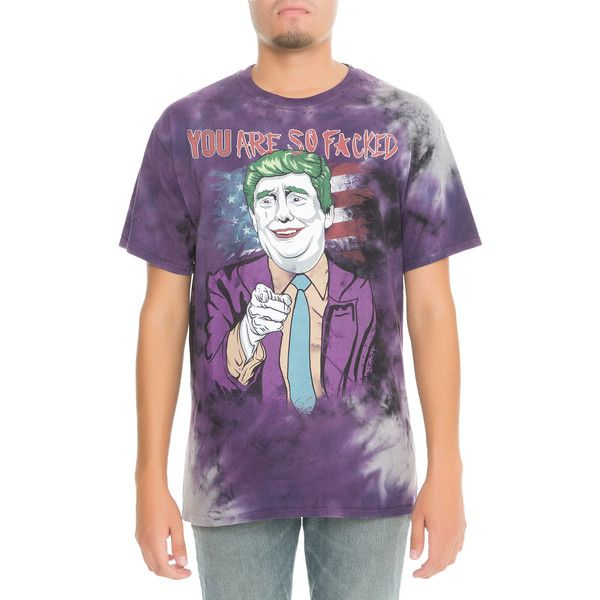 Entree LS Donald Trump Joker Vintage Tie Dye Purple Tee (29 AUD) ❤ liked on Polyvore featuring men's fashion, men's clothing, men's shirts, men's t-shirts, purple tye dye, mens straight hem shirts, mens tie dye shirts, mens purple t shirt, mens tie dye t shirts and mens oversized t shirt