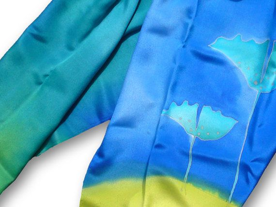 Blue silk scarf with delicate flowers. Blue, light green. Hand painted by SilkAgathe.
