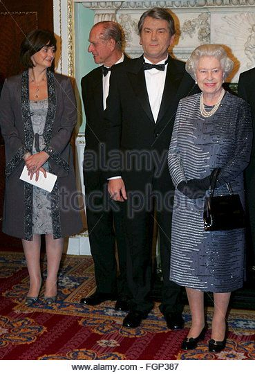 2005 Cherie Blair, wife of Prime Minister Tony Blair, Britain's Duke of Edinburgh, Ukranian President - Stock Image