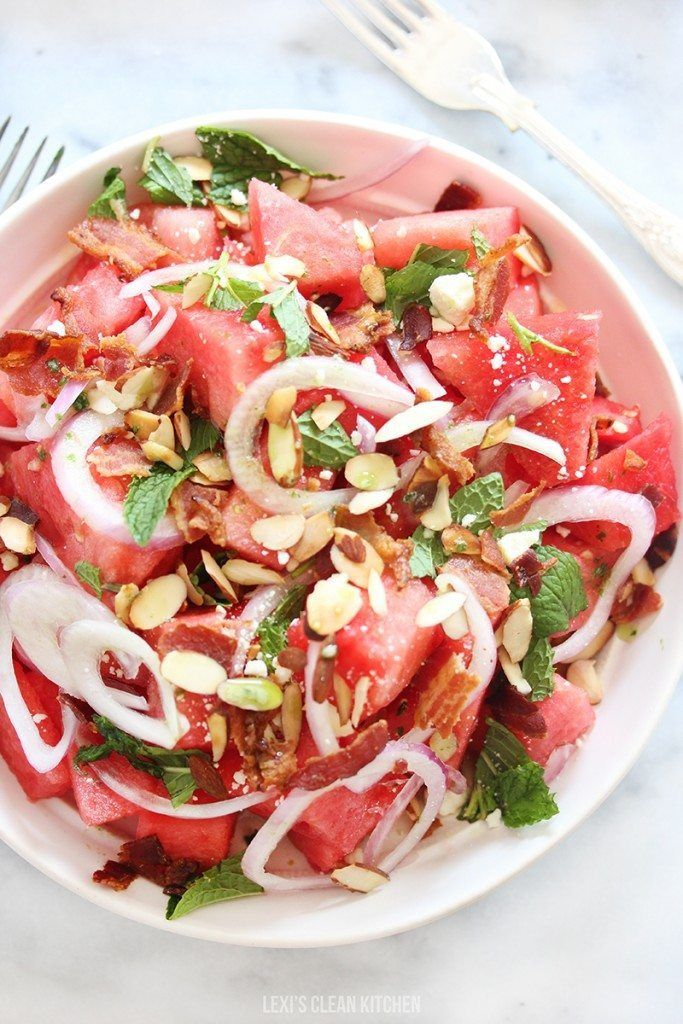 Watermelon Salad with Basil-Ginger Dressing - Lexi's Clean Kitchen