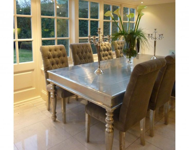 White Silver Metal Large Dining Table