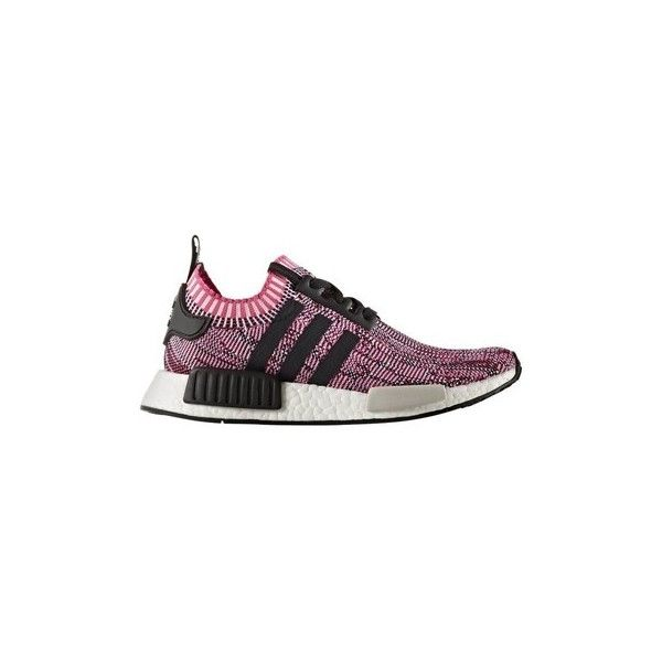 adidas Nmd R1 Primeknit Women Shock Pink Shoes (Trainers) ($295) ❤ liked on Polyvore featuring shoes, sneakers, trainers, white, women, white sneakers, adidas, white shoes, white trainers and pink trainers
