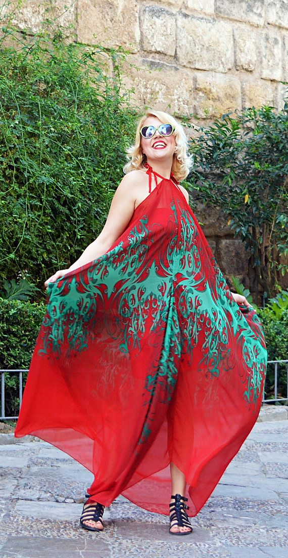 Red summer dress made of a beautiful, light red chiffon with an abstract green pattern. Loose, comfortable, playful and easy to wear, this red maxi dress will catch everyones attention and it will make you feel amazing! Stylish and versatile, this summer maxi dress is fit to lots of occasions and will brighten up your wardrobe! Add a touch of daring red Spanish vibe to your summer style! This kaftan comes with an underneath viscose dress. Two pieces for this item!  Material: 100% chiffon…