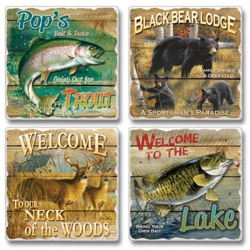 High Country Outfitters 4 Pack Square Tumbled Stone Coasters