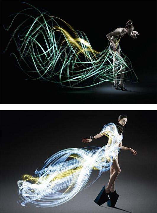 Light Painted Dresses by Atton Conrad. Combining light art photography and high fashion, these show-stopping, runway-worthy gowns are invisible until completed, and manufactured without physical material. Atton Conrad sets the models in pitch-black rooms, then writes with lights around them, resulting in a flowing and ephemeral slow-captured creation that is only visible after each shot is finished.