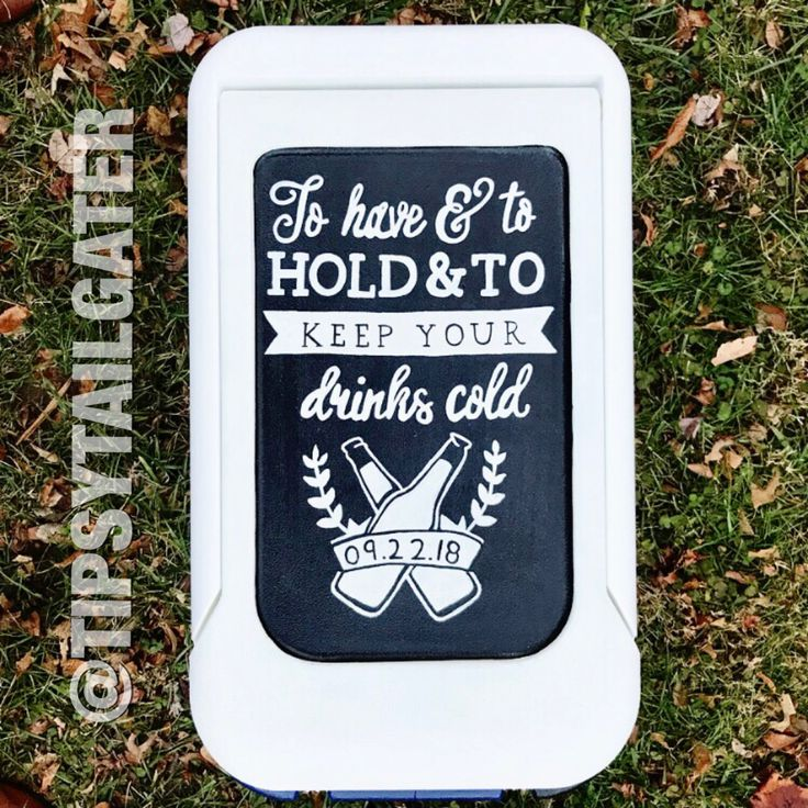 """Painted cooler created by the Tipsy Tailgater. Custom coolers made to order, perfect for sorority and fraternity formals, golf weekends, fishing & hunting trips, or tailgates! """"To have and to hold and to keep your drinks cold"""""""