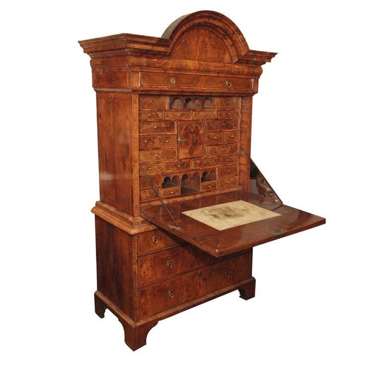 Antique Early 18th Century English Burled Walnut Fall-Front Desk