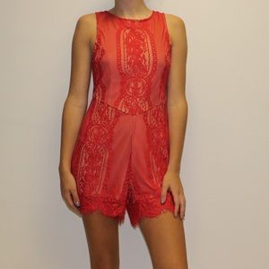 Lulu's Dresses & Skirts - Red lace romper red lace jumpsuit red playsuit
