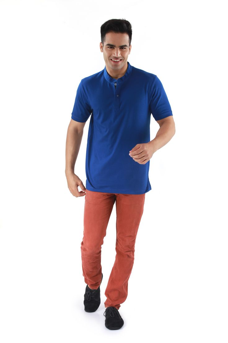 MUDO Solid Royal Blue Henley with round neck
