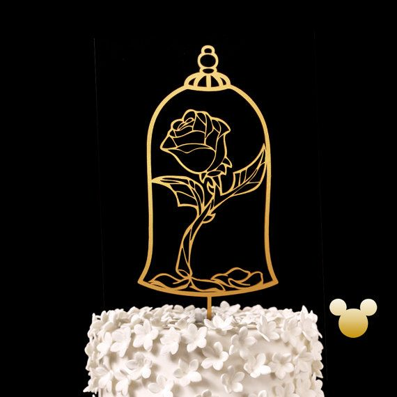 Enchanted Rose Wedding Cake Topper - Beauty and the Beast Keepsake Wedding Cake Toppers, Disney Wedding Cake Topper