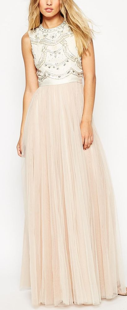 embellished bodice tulle skirt gown