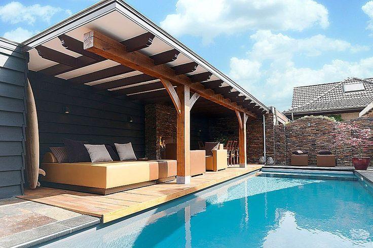 Wellness tuin meer interieur inspiratie kijk op zwembad wellness pinterest - Bedekt hout pergola ...