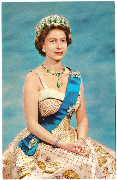 Queen Elizabeth II      I believe it is Queen Mary's Vladimir Tiara (which can be worn with pendant emeralds), but someone please correct me if I'm wrong!:
