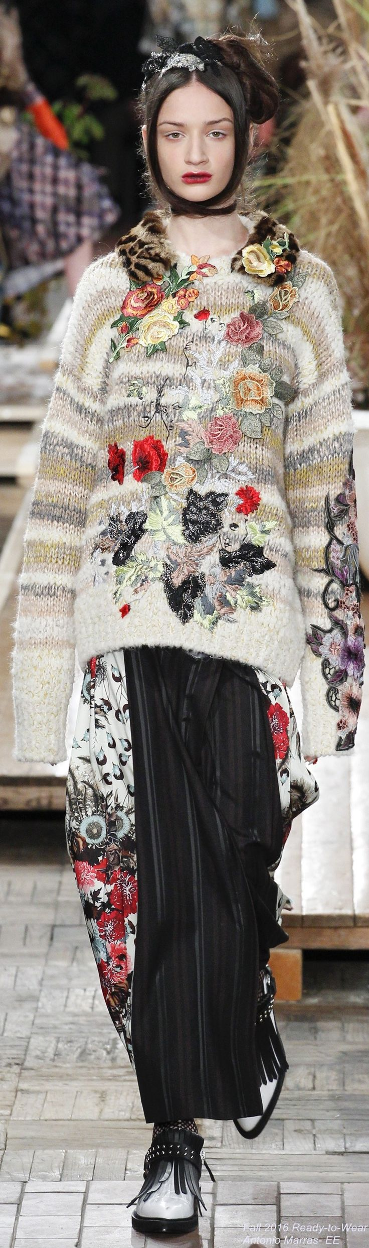 Antonio Marras F-16 RTW: embroidered sweater with leopard collar, stripes & flowers skirt.