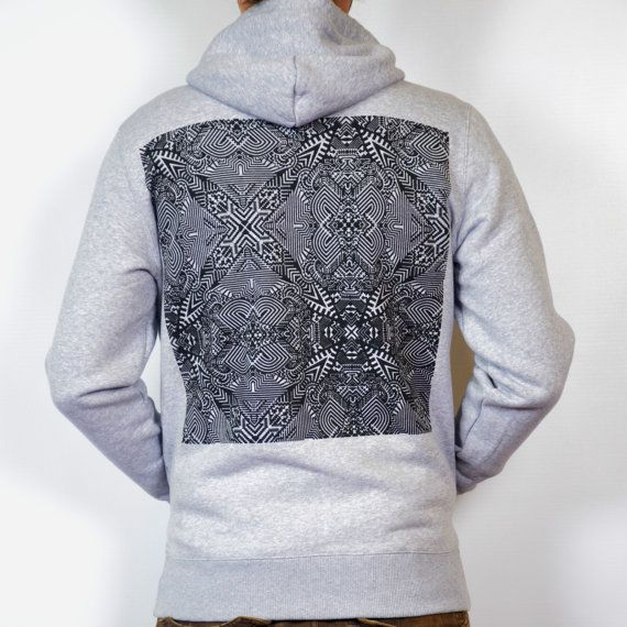 SALE Impossible Origami gray and black Hoodie by TAPT on Etsy