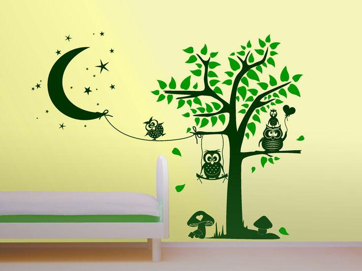 Inspirational Traumhaftes Eulen Wandtattoo als Kinderzimmer Dekoration