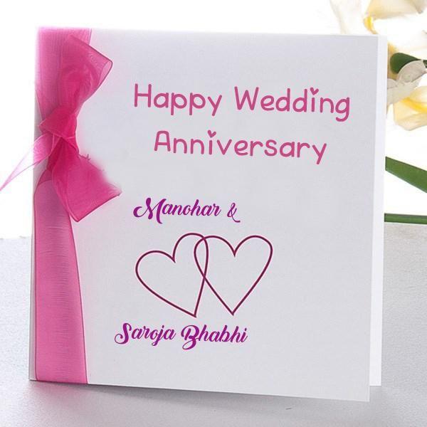 Online Wedding Anniversary Name Wish Card Edit Photo Happy