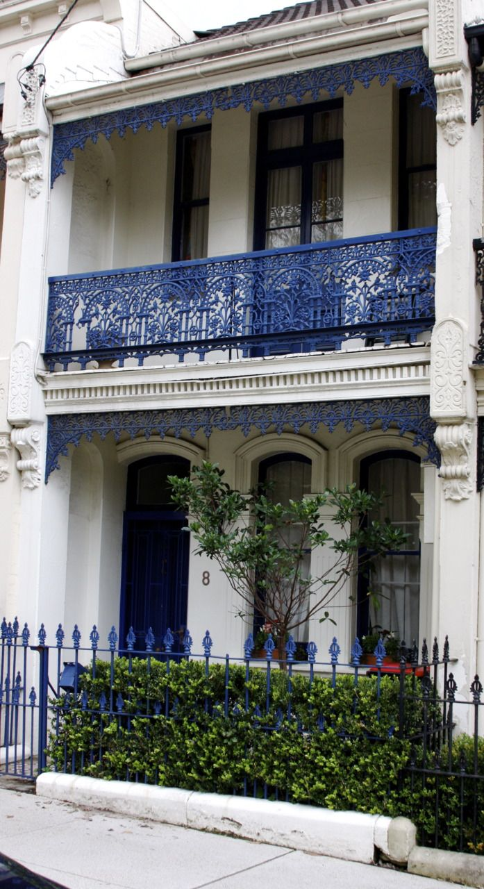 blue and white terraced house, Sydney