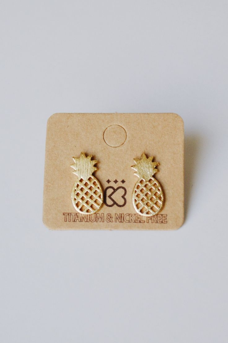 The CUTEST little pineapple stud earrings! - Titanium and nickel free. - Color: gold.