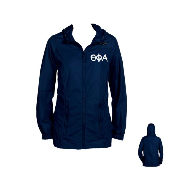 The perfect length Theta Phi Alpha Rain Jacket. Full zip style with drawstring hood. Our Theta Phi Alpha rain jacket is a must have for every sorority girl's closet!