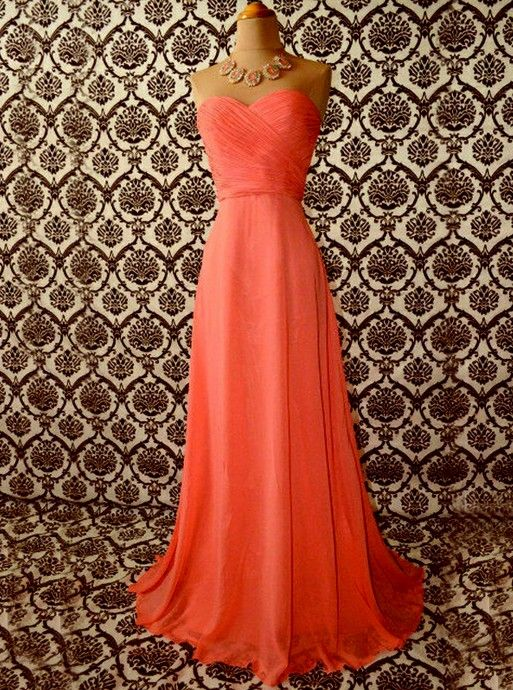 Coral long fashionable sweet heart affordable bridesmaid dress | Cheap bridesmaid dresses Sale