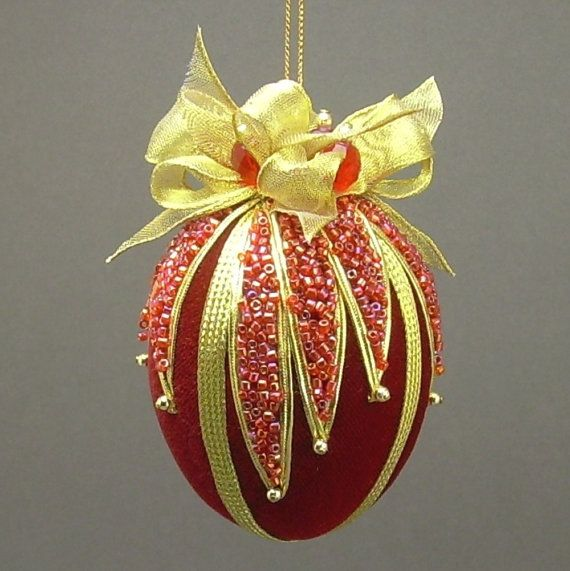 "Red Velvet Egg Victorian Inspired Christmas Ornament - Handmade with Glass Seed Bead ""Glitter"""