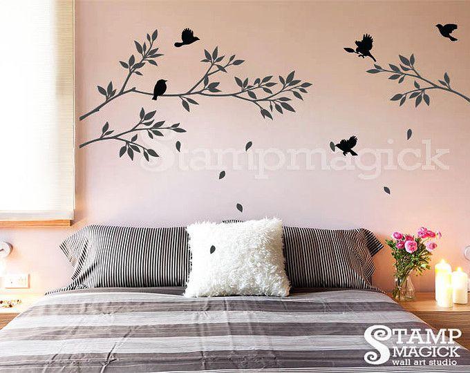Etiqueta de la pared de rama de árbol con pájaros - la etiqueta engomada de la etiqueta del rama - vinilo pared etiqueta decoración para el hogar - K021B