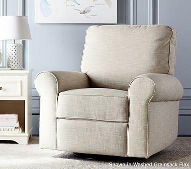 comfort recliner brushed crossweave light gray - Swivel Rocker Chairs For Living Room