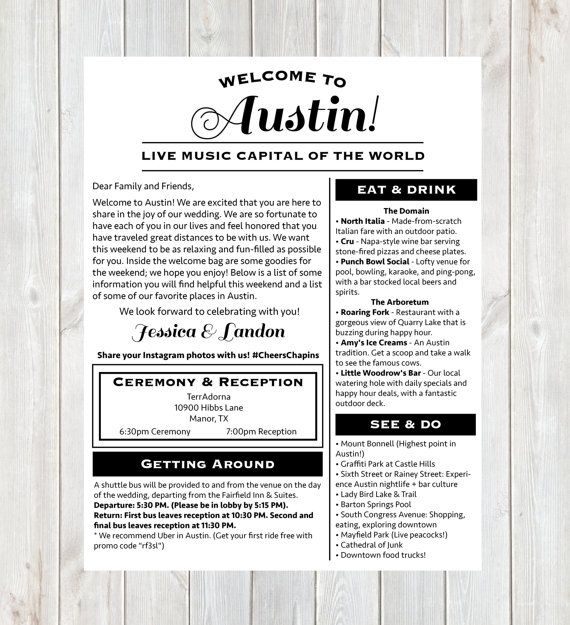 Welcome Letter, Wedding Welcome Letter, Austin Wedding, Wedding Weekend Itinerary, Austin, Destination Wedding Welcome Letter, Printable
