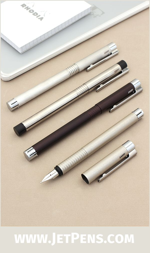 The modern, stainless steel Lamy Logo Fountain Pens are now available in Brushed Pearl and Brushed Twilight.