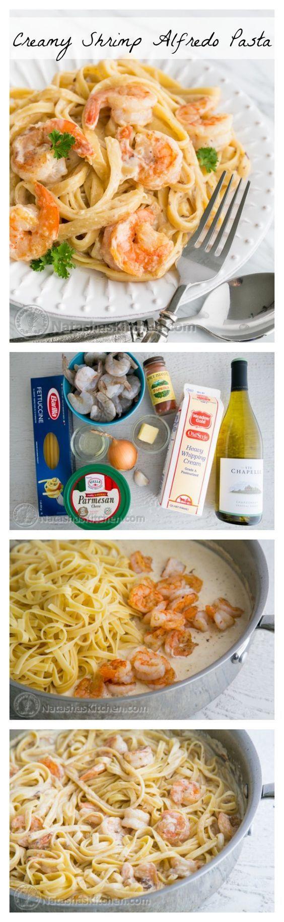Creamy Shrimp Alfredo Pasta.   Pin now, enjoy later!