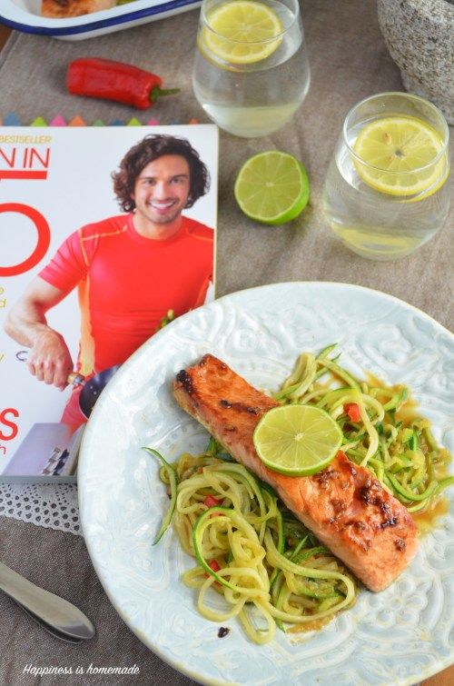 Teriyaki Salmon with Courgette Noodles (Lean in 15 book review!) - Happiness is homemade