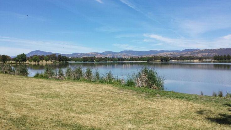 Biking around lake Tuggeranong, Canberra