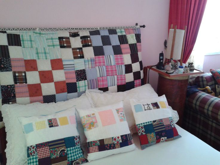My patchwork headboard and some cushions.