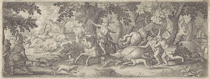 Pieter Serwouters | Zwijnenjacht, Pieter Serwouters, Claes Jansz. Visscher (II), 1612 | Mannen te paard en te voet jagen met speren en een bijl op vier zwijnen. Honden drijven de beesten verder op. Een van de honden ligt gewond of dood op de grond.
