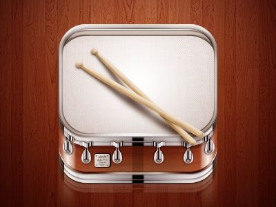 Cool drum iOS icon found on Dribbble.