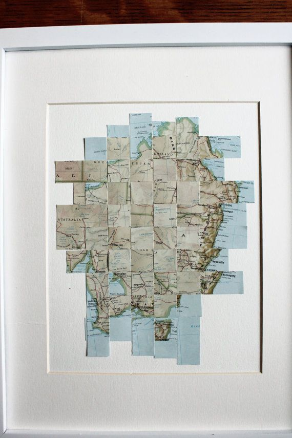Australia Map Altered Paper Art Wall Art