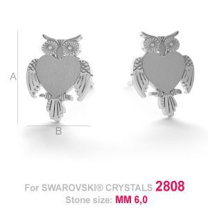Owl earrings for Swarovski Owl-shaped earring base for Swarovski Crystals 2808 A=11,00 mm; B=8,80 mm, sterling silver (AG-925)