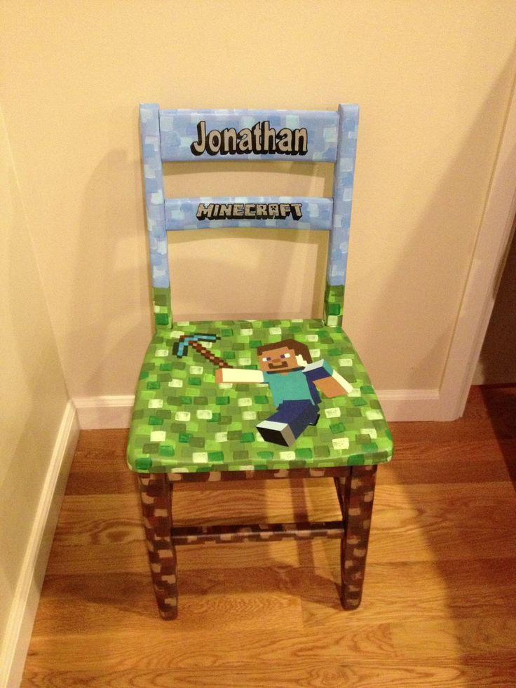 Minecraft Personalized Chair For 5 Year Old Boy. Custom Painted Kids Chair.